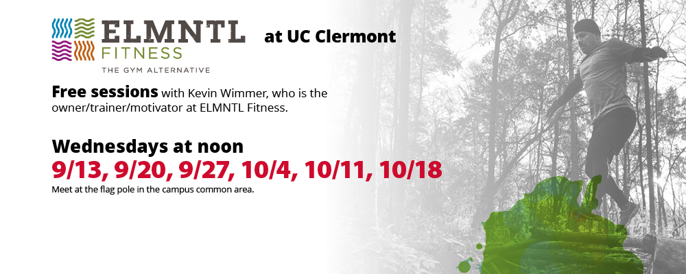 ELMNTL Fitness at UC Clermont – FREE sessions Wednesdays at noon by the flag poles | 9/13, 9/20, 9/27, 10/4, 10/11, 10/18